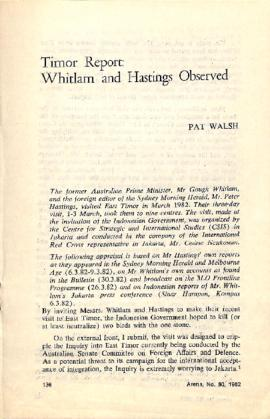 Timor Report: Whitlam and Hastings Observed