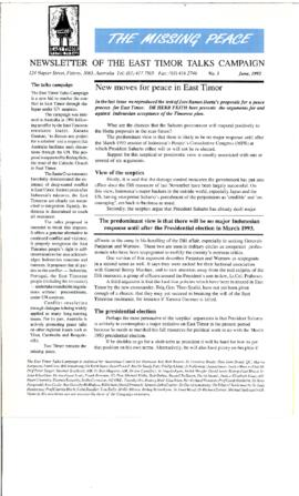 The Missing Peace Newsletter 1992-06