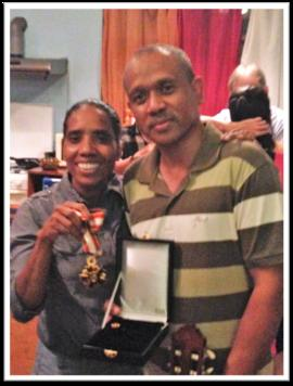 Abé Barreto Soares and Bella Galhos with the Order of Timor-Leste medal, Dili.