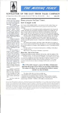 The Missing Peace Newsletter 1992-04