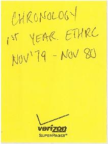 ETHRC Chronology - 1st Year (Nov. 1979-Nov. 1980)