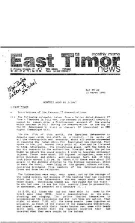 East Timor News Monthly Memo 1990-03