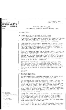 East Timor News Monthly Memo 1989-02