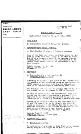 East Timor News Monthly Memo 1988-12