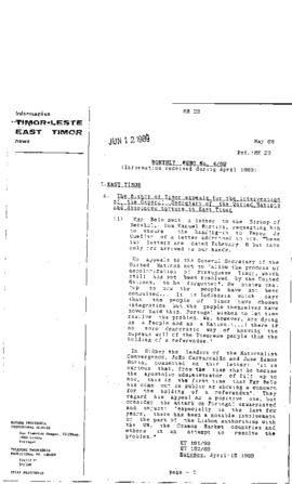 East Timor News Monthly Memo 1989-05