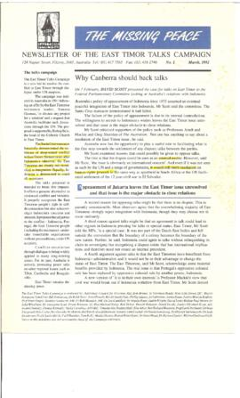 The Missing Peace Newsletter 1992-03