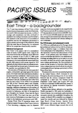 East Timor - a backgrounder